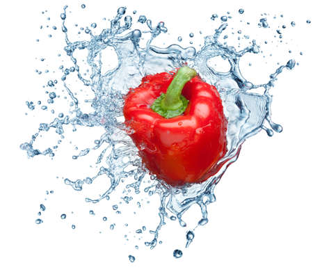 Pepper in spray of water. Juicy pepper with splash on white background Stock Photo - 7991926