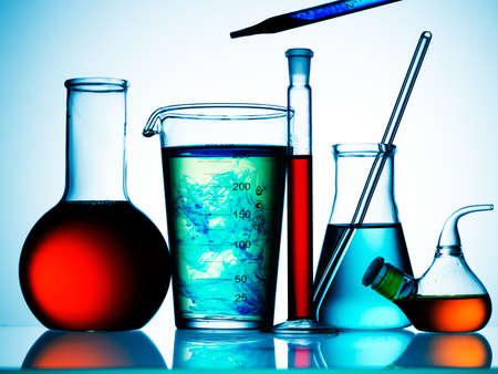 Assorted laboratory glassware equipment ready for an experiment in a science research lab Stock Photo - 7992018
