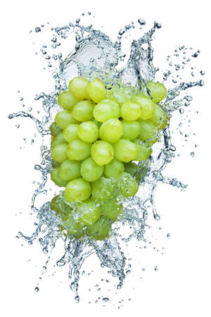 fruit in water: grape in spray of water. Juicy grape with splash on background Stock Photo