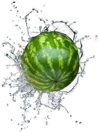 Watermelon in spray of water. Juicy watermelon with splash on white background