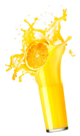orange juice splash isolated on white photo