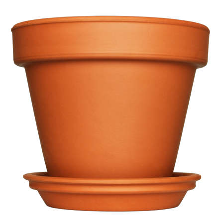 terracotta: Empty Flower Pot isolated on white
