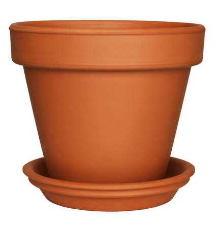 clay pot: Empty Flower Pot isolated on white
