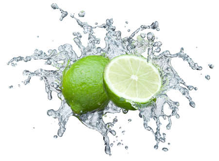 fruit drop: lime in spray of water. lime cucumber with splash on background Stock Photo