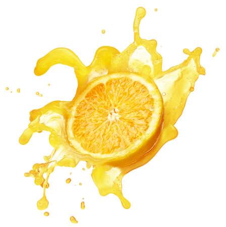 verre de jus: �claboussures de jus d'orange isol� sur blanc Banque d'images
