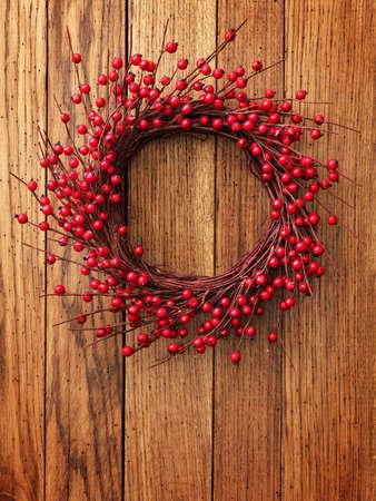 Christmas wreath on the wood door photo