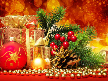Christmas fir tree with gifts and christmas decoration Stock Photo - 9039879