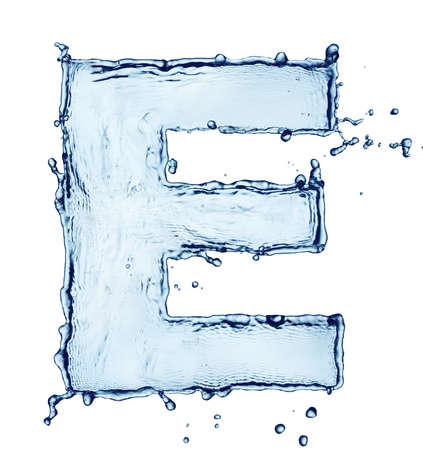 Splash of water in the form of letter isolated on white photo