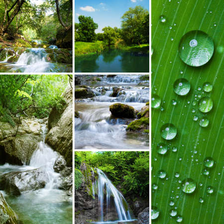 Diferent waterfall and river collage photo