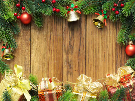 Christmas fir tree with gifts and christmas decoration photo