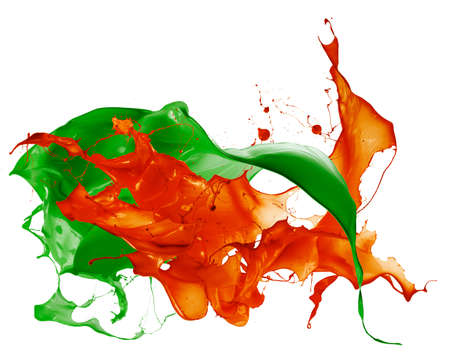 Isolated shot of paint splashing on white Stock Photo