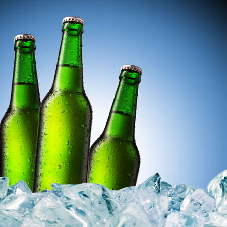cold beer bottle with water droplets on surface Stock Photo - 9275516