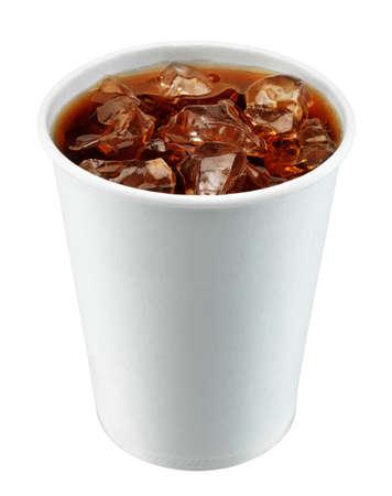 gaseosas: Copa de blanco comida r�pida aislada en blanco Foto de archivo