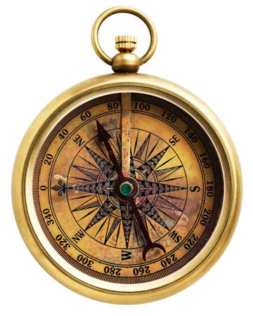 Vintage compass isolated on white background Stock Photo - 9277872