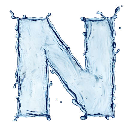 water splash isolated on white background: One letter of water alphabet