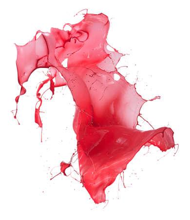 splash paint: Isolated shot of paint splashing on white Stock Photo