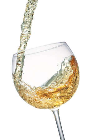 White wine splashing in a glass, isolated on white photo