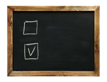 electing: Yes Or No on black chalk board isolated on white