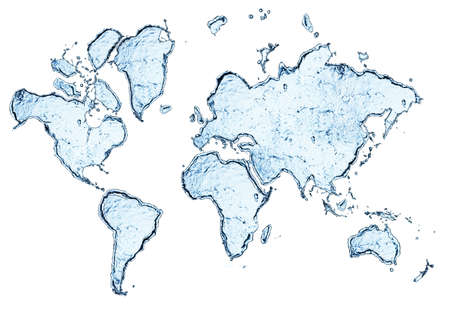 world map from water splashes isolated on white photo