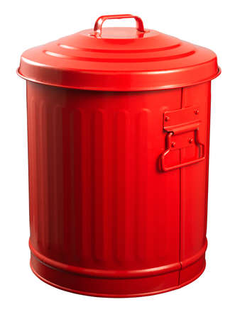 cesto basura: Red papeleras de reciclaje aislado en blanco