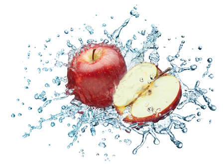 Apple in spray of water. Juicy apple with splash on white background photo
