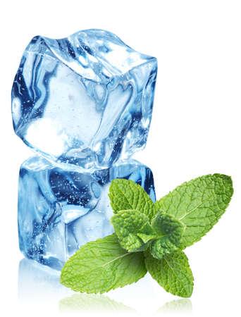 cubetti di ghiaccio: Cubetti di ghiaccio e foglie di menta su uno sfondo bianco Archivio Fotografico
