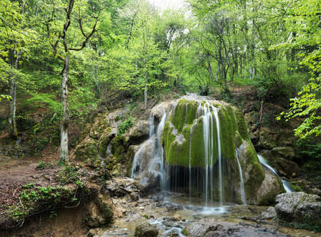 The beautiful waterfall in forest, spring, long exposure Stock Photo - 12568390