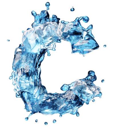 ice alphabet: cola with ice alphabet isolated on white