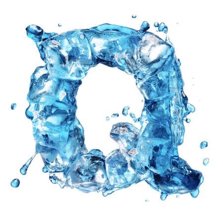 ice alphabet: water with ice alphabet isolated on white