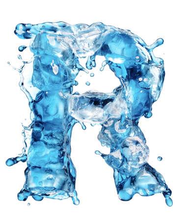 agua liquida carta: el agua con el alfabeto de hielo aislados en blanco Foto de archivo