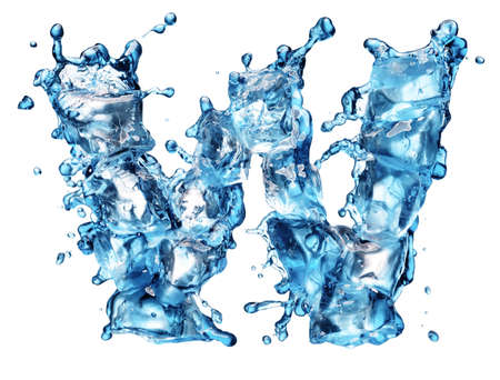 water alphabet: water with ice alphabet isolated on white