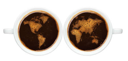 Top view of an isolated cup of coffee with worldmap made of bubbles photo