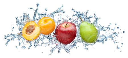 Apricot, apple and pear in spray of water. Juicy peach with splash on white background Stock Photo - 12569184