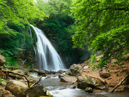 The beautiful waterfall in forest, spring, long exposure Stock Photo - 12568831