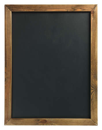 Blank chalkboard in wooden frame isolated on white photo