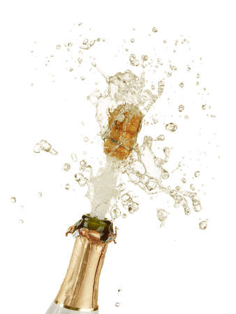 champaign: Close-up of explosion of champagne bottle cork