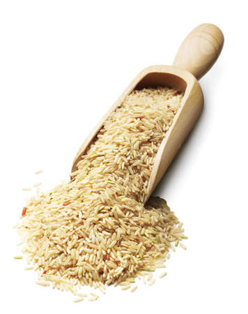 rice grain: scoop with wild rice on white
