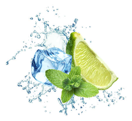 lime juice: Ice cubes, mint leaves, water splash and lime on a white background