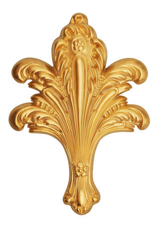gold frame: old ancient gold ornament on a white background
