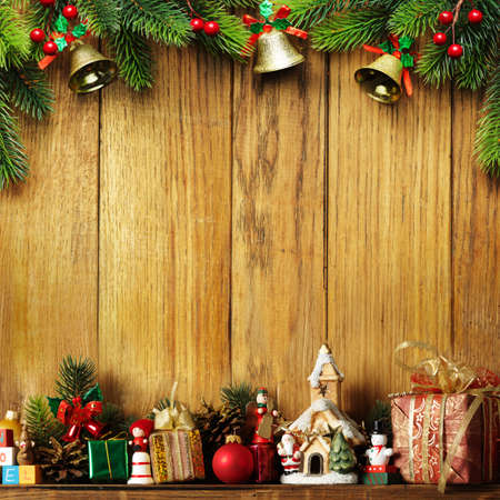 christmas sock: Christmas decoration with presents on wood board Stock Photo