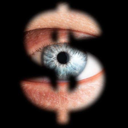 Eye in keyhole (Dollar sign), isolated on black background Stock Photo - 17461377