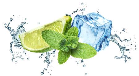 menta: Los cubos de hielo, hojas de menta, salpicaduras de agua y cal sobre un fondo blanco Foto de archivo