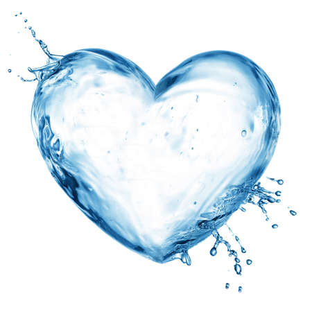 Heart from water splash with bubbles isolated on white photo