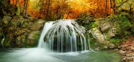Autumn creek Wald mit gelben Bäume Laub und Felsen im Wald Berg.
