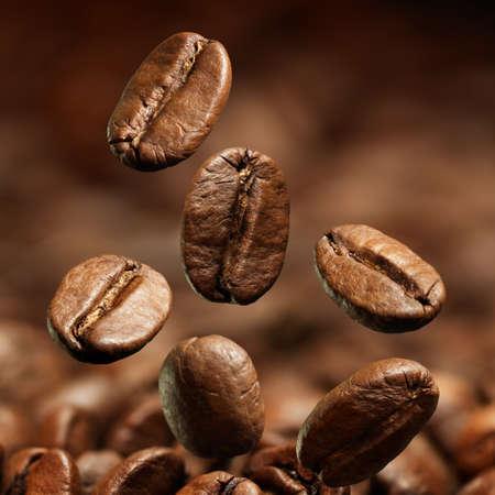 frijoles: Primer de los granos de caf? con el foco en un