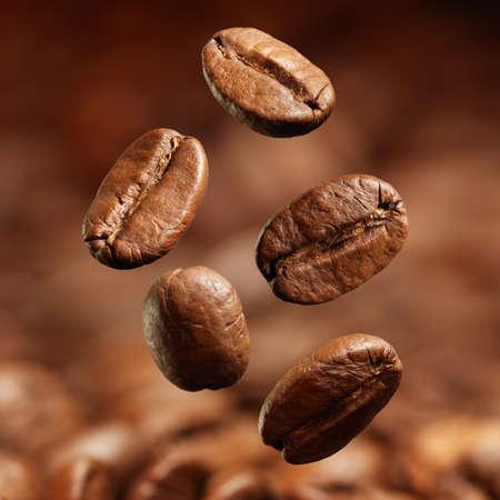 grano de cafe: Primer de los granos de caf? con el foco en un