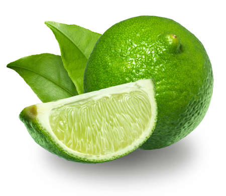 lime slice: Fresh limes Isolated on white