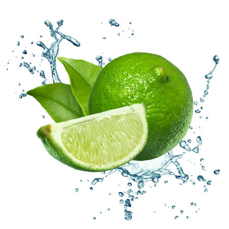 organic lemon: Fresh limes Isolated on white