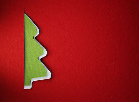 Christmas tree paper cutting design card. Stock Photo - 17460163