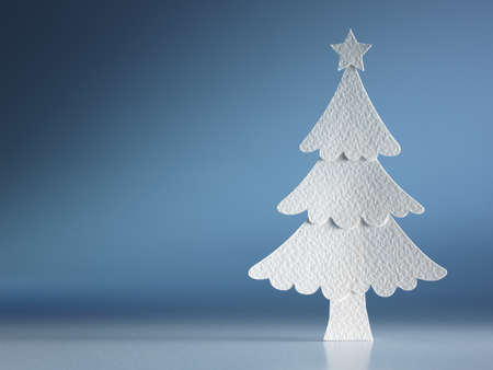 new year tree: Christmas tree paper cutting design card. Stock Photo